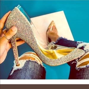 Glitter Encrusted Pointed Clear panel Heels